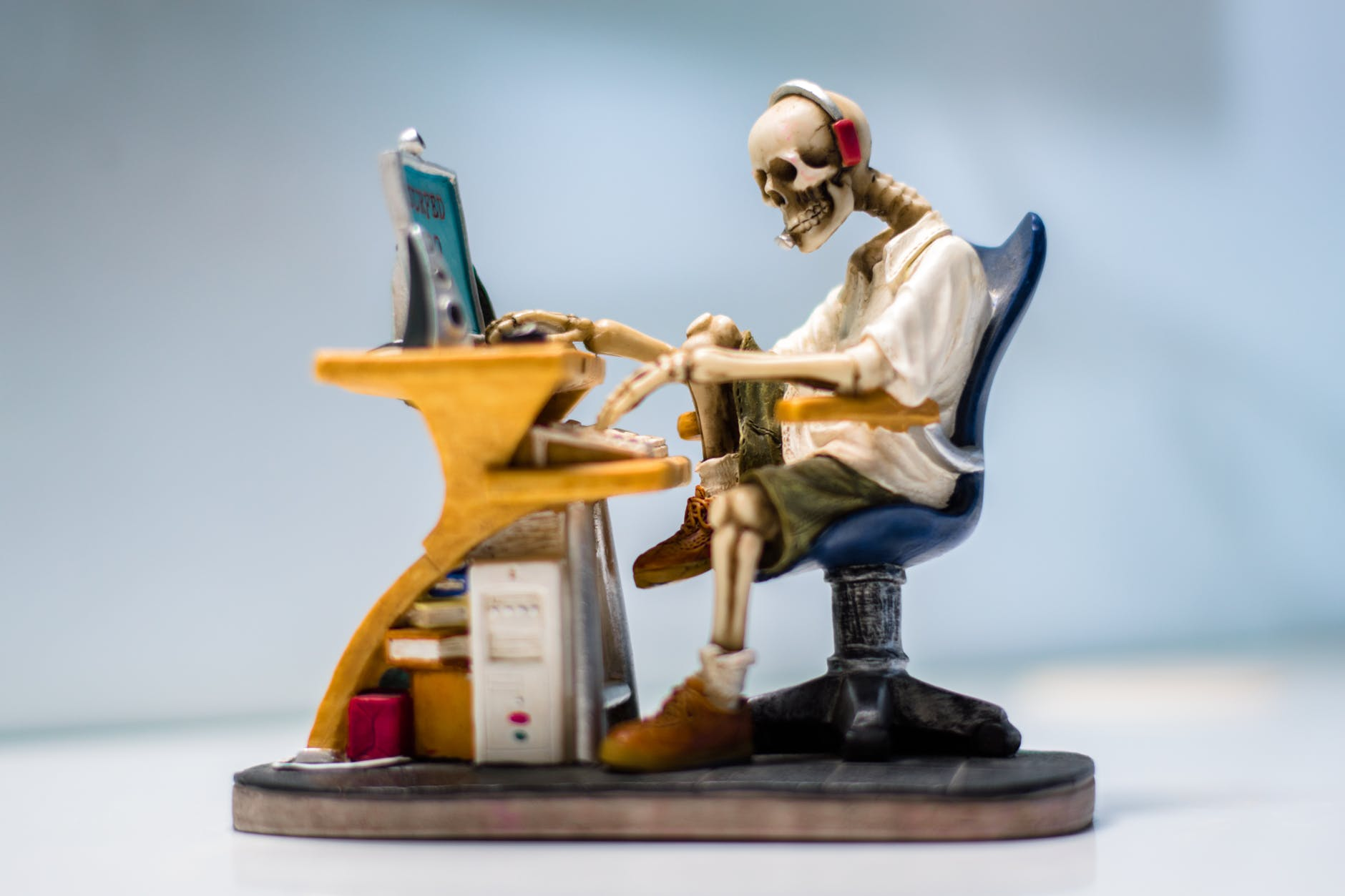 computer earphone figurine furniture