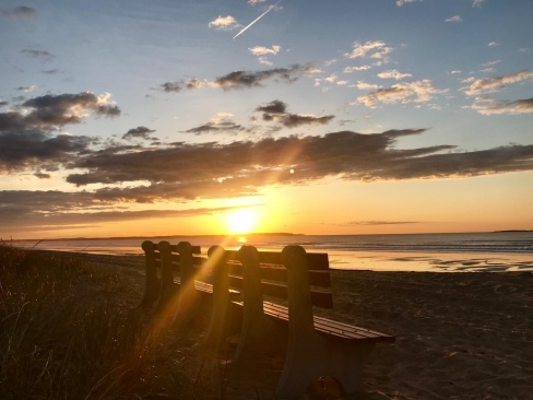 sun on beach bench