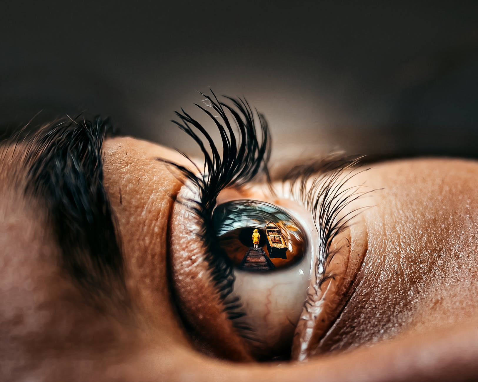 macro photography of eye