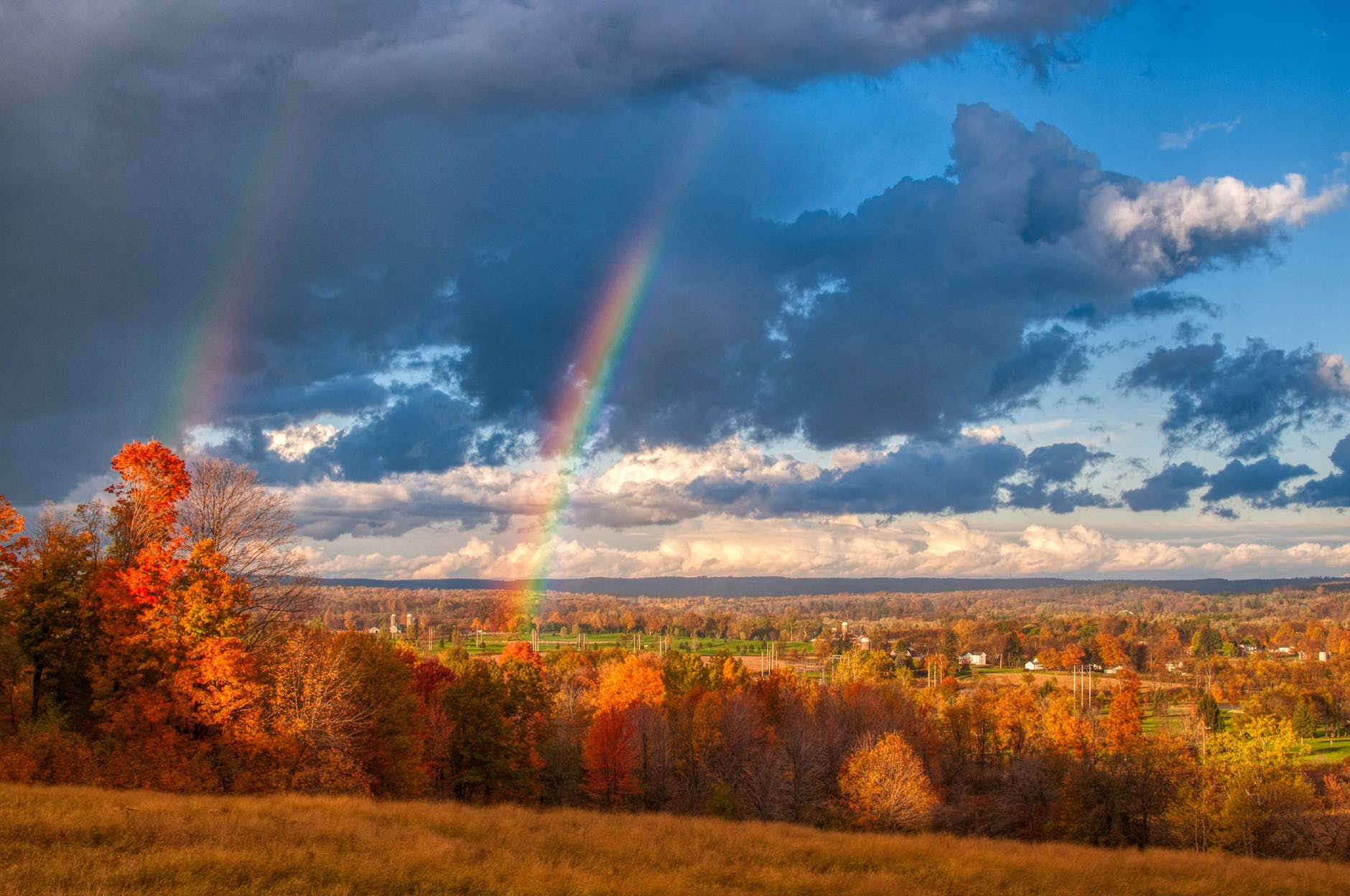 scenic view of sky with rainbow